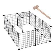 PawHut D06-055 DIY Pet Playpen Metal Wire Fence 12 Panel Enclosure Indoor Outdoor Guinea Pig Rabbit ...