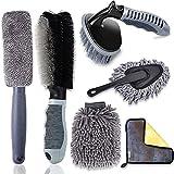 6er Auto Felgenbürste Alufelgen Set, Auto Reinigungsbürste Kit mit Mikrofaser Felgen Reinigung Bürste Reifenbürste Waschhandschuh Reinigungstücher Car Duster Brush für Car Motorrad Fahrrad Waschen