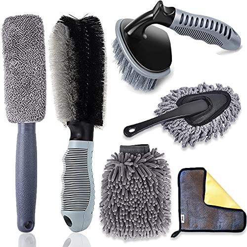 Juego de 6 cepillos limpieza para llantas coche, juego con microfibra microfibra, cepillo neumáticos, guantes moto, bicicleta, lavado