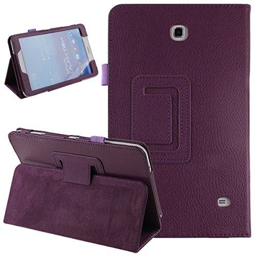 Galaxy Tab 4 8.0 Case, NSSTAR Simple Color Slim PU Leather Folio Protective Case Cover with Stand for Samsung Galaxy Tab 4 8.0 T330 T331 8 Inch Tablet (Purple)