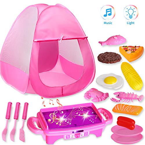 TECBOSS Kids Play Tent, Camping Tent with LED Music Kitchen Set,The Best Gifts Outdoor/Indoor Toys for Age 1-5 Year Olds Toddler Girls, 17pcs