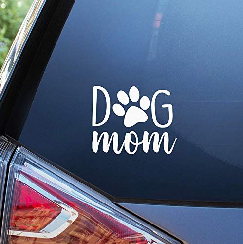 BKS Dog Mom Paw Vinyl Decal Sticker 4' | Cars Trucks Vans SUVs Walls Cups Laptops | 5 Inch | White