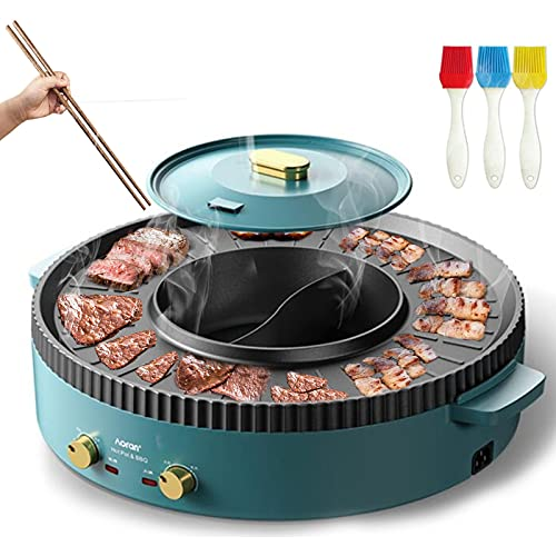 BBQ Grill with Hot Pot 2 in 1 Indoor Electric Grill and Shabu Shabu Pot...