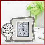 Orologio sveglia da comodino in legno bianco e grigio con albero della vita, disponibile in 2 dimensioni, idee economiche bomboniere, completo di scatola regalo (standard-senza confezionamento)