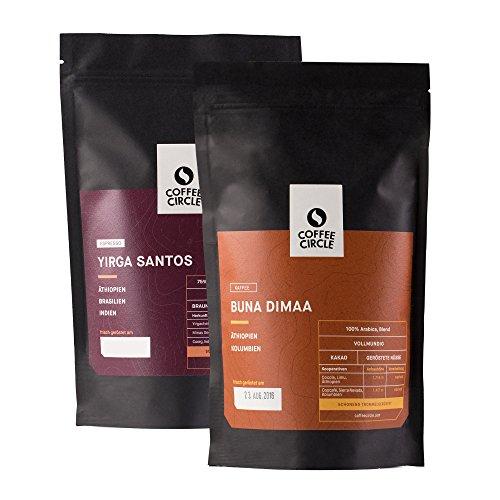 Coffee Circle   Premium Bohnenkaffee Geschenk   2 x 350g ganze Bohne   Vollautomaten Kaffee und Espresso im Set   Arabica und Robusta   fair & direkt gehandelt   frisch & schonend geröstet