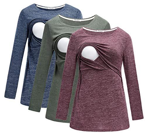 Bearsland Women's Maternity Clothes Long Sleeves Breastfeeding Shirts and Nursing Top,bluegreenred,M