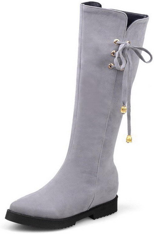 WeiPoot Women's Imitated Suede High-top Solid Zipper Kitten-Heels Boots