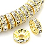 RUBYCA 100pcs Round Rondelle Spacer Bead Gold Tone 8mm White Clear Czech Crystal