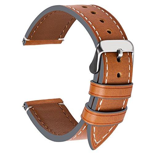 Fullmosa Ersatz Armbänder für Uhr in 6 Farben, Wax Series Echtes Leder Uhrenarmband 22mm/Watch Band für Damen&Herren,Hellbraun + Silber Schnalle