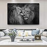 WXDQ Leone e leonessa in Bianco e Nero Poster da Parete Animali Stampe Quadri Quadri su tela-50x70cmx1 Pezzi Senza Cornice