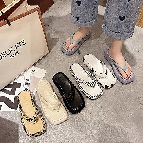 xinghui Chanclas Zapatos Gruesos Muffin Bottom Sand-Dramatic Drag Zapatos de Mujer afuera Zapatillas de Barrido-Mil Aves_35