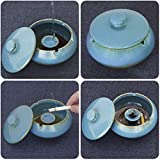 ONEDERZ Aschenbecher für Draußen mit Deckel, Keramik Windaschenbecher Geruchsdicht Sturmaschenbecher für Home Office Dekoration (Blau) - 4