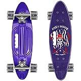 Skateboard 55cm/22inch para Principiantes Adultos y Niños, Mini Cruiser Retro Skateboard con All-in-One Skate T-Tool, Skateboard con 4 LED PU Rueda