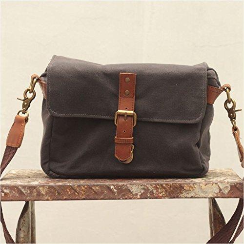 Handmade Waxed Canvas Compact Camera Messenger Bag - Asphalt Grey