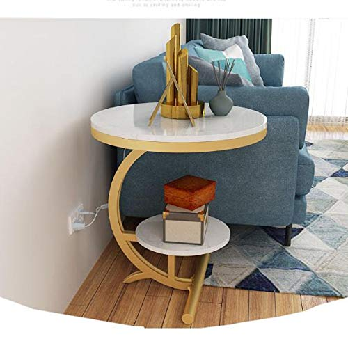 Mesa de Centro Mesa Auxiliar Mesa Centro Tabla lado de la sala con Estante de almacenamiento, 2 capas de noche, mesa de Fin Tabla pequeñas y redondas for el hogar, oficina, Pasillo Mesa de Centro Mesa