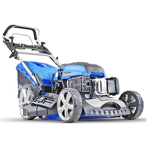 Hyundai Petrol Lawnmower Self Propelled Push Button Electric Start Lawn Mower 196cc, 20 Inch, 51cm, 510mm Cutting Width, Mulching, 70L Collection, Steel Deck, 600ml Engine Oil Included HYM510SPE