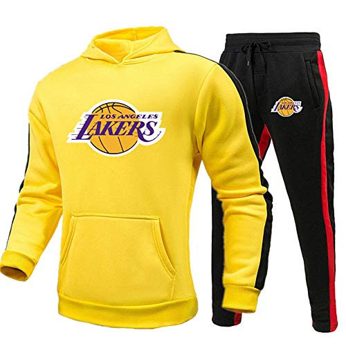 BAIDEFENG Conjunto de 2 Piezas de chándal Informal para Hombre Lakers Chándal de Contraste para Hombre y niño Traje de Entrenamiento Sudadera con Capucha y Traje de Jogging Inferior-Extragrande