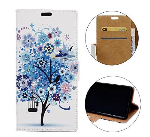 Sunrive Funda para Xiaomi Mi Mix 2S, Funda Protección Carcasa Cuero Resistente Cierre Magnético,Carcasa en Folio, Soporte Plegable (Patrón árbol Azul) + 1 x Lápiz óptico