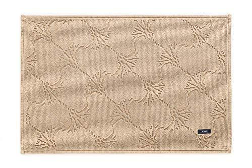 Joop! Alfombra de baño New Cornflower 60 x 90 cm, color arena, 100% algodón, altura de pelo de 6 mm, forma rectangular, aspecto elegante, suave y resistente, fabricada en Portugal
