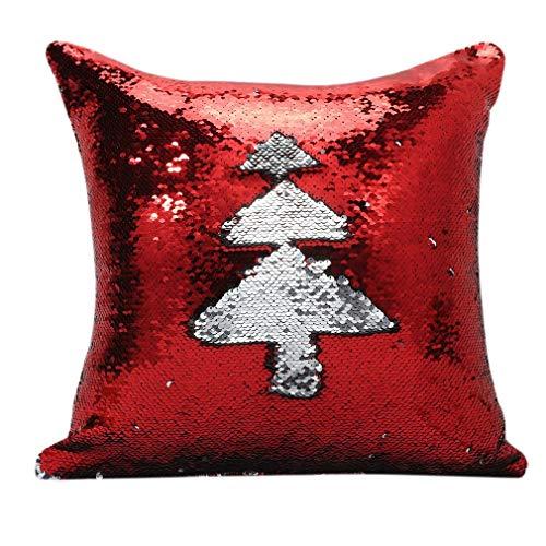 RHNE Funda de Almohada de 40 * 40 cm, Almohada de Lentejuelas Brillantes, Funda de cojín para sofá, Funda de Almohada Decorativa Reversible de Moda para el hogar, Coche, árbol Rojo y Plateado
