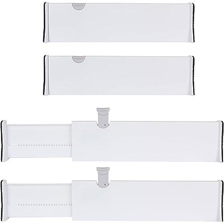 SHANQIAN Organisateur Ajustable de Tiroir, 4 PCS Blanc Diviseurs de Tiroir Séparateur Tiroir pour Cuisine, Bureau, Salle de Bain ou Chambre à Coucher (Taille Standard- 37.8 cm/14.9 inch)