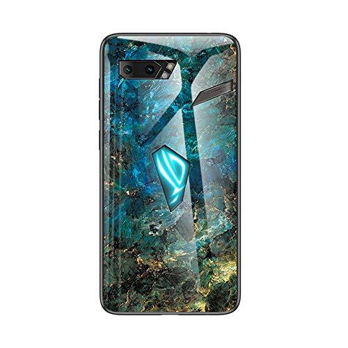 Brand Set Hülle für Asus ROG Phone 2 Rückseite aus gehärtetem Marmorglas & Hybrid-Hartschalenkoffer aus Silikon,stoßfest & Kratzfest Handyhülle für Asus ROG Phone 2 (Blau)