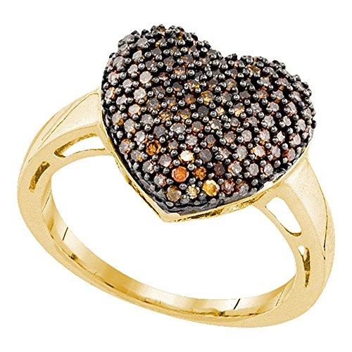 Jewels By Lux Anillo de Amor de corazón de Diamante para Mujeres 10