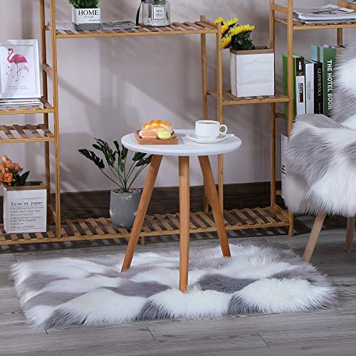 HEQUN Faux Lammfell Schaffell Teppich, Kunstfell Dekofell Lammfellimitat Teppich Longhair Fell Nachahmung Wolle Bettvorleger Sofa Matte(Weiß+grau, 60 x160cm)