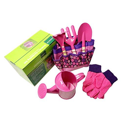 JOYKK Set di Attrezzi per Giardiniere Piccolo con Borsa Bambini per Bambini Giardinaggio per Ragazze Giocattoli per Bambini - Rosa