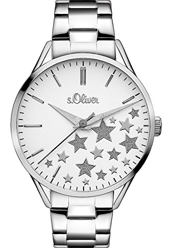 s.Oliver Damen-Armbanduhr Analog Quarz, silber Sterne
