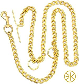 3Keys Super Heavy Weight Dog Brass Leash Diamond Cut Heavy Duty Dog Gold Chain (X-Large)