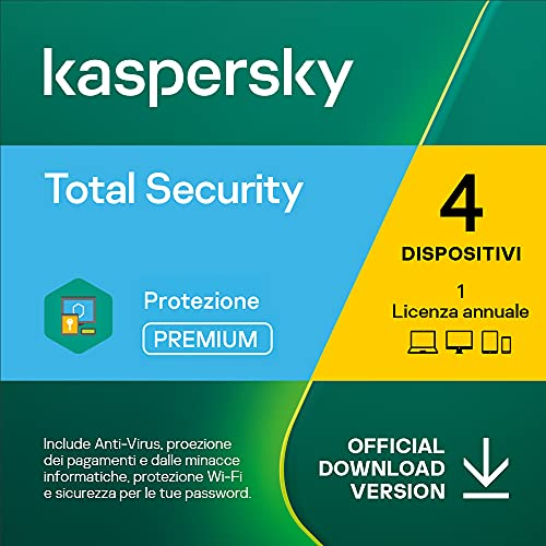 Kaspersky Total Security 2021 | 4 Dispositivi | 1 Anno | PC   Mac   Android | Codice d attivazione via email