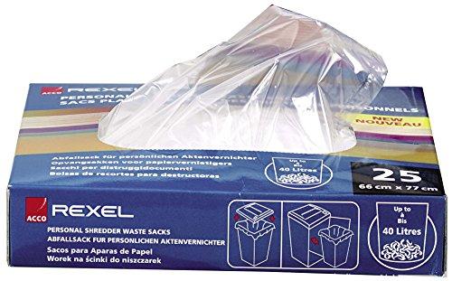 Rexel Plastikabfallbeutel für Aktenvernichter in Kleinbüros, 40 Liter, 100 Stück, 40060