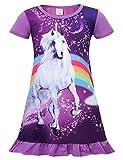 Jurebecia Kinder Mädchen Einhorn Nachthemden Regenbogen bedrucktes Nachthemd Kurzarmpyjama Pyjama mädchen