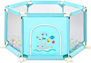 CXHMYC Portable baby play fence with squares  100 doors and doors  child-proof play area for children high bed height  color  blue