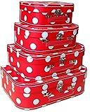 Set de 4 Maletas Infantiles Decorativas Topos Blancos. Accesorios de Equipaje. Juguetes y Juegos de colección. Regalos Originales para Reyes y Navidad. Decoración.