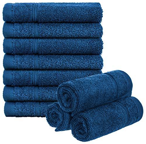 Brandsseller 10er Set Seiftücher Waschlappen Gästehandtücher Frottee Bad/Haushalt 30x30cm 100% Baumwolle 470 g/qm Blau