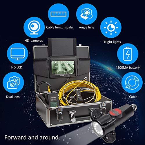 XIAODONGDONG Doppelobjektiv-Tubus-Endoskop Doppelobjektiv-Tubus-Kamera Rohrinterner Inspektionsdetektor Unterwasser-Straßeninspektionskamera,20M