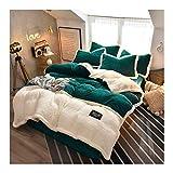 NYKK Lecho Queen Size 4 Hoja Piece Set Polar de Coral lecho Suave y cómodo con Textura de Rayas Sábanas Ajustadas (Color : Green, Size : 2.0m (6.6 Feet Bed))