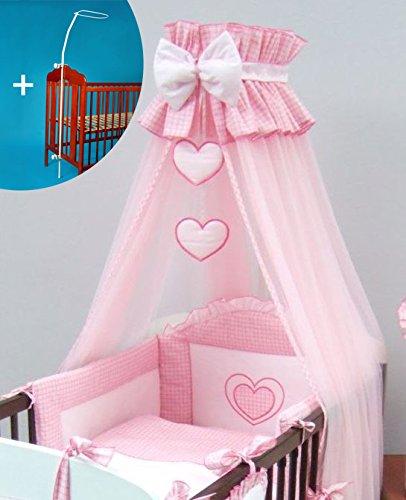 Luxe Couronne Lit pour bébé Canopy/moustiquaire 480 cm + pince/Tige/Support Cœur – Rose