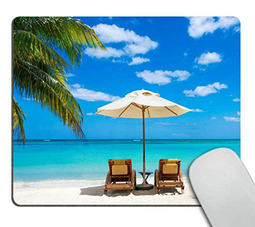 CUKENG Idyllic White Beach in Front of The Turquoise Tropical sea Mouse pad Gaming Mouse pad Mousepad Nonslip Rubber Backing