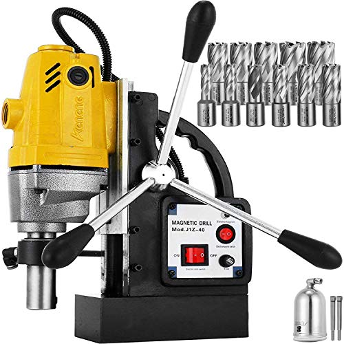 Mophorn 1100W Magnetic Drill Press with 1-1/2 Inch (40mm) Boring Diameter MD40 Magnetic Drill Press Machine 2810 LBS Magnetic Force Magnetic Drilling System 670 RPM with 11 Pcs HSS Annular Cutter Kit