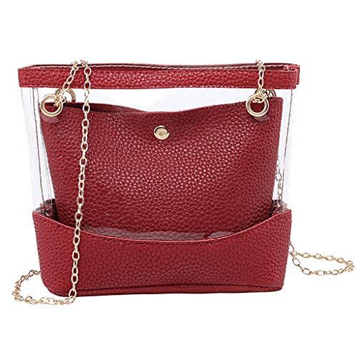 COZOCO Frauen arbeiten Dame Shoulder Bags Jelly Package Hasp-Handtaschen-Geldbeutel-Handykurierbeutel um(rot)