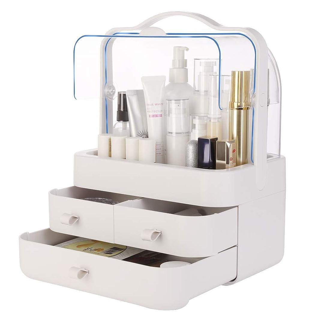 謙虚な争うどこ化粧品収納ボックス VICOODA メイクケース 防塵 防水 大容量 透明カバー開閉 ABS+PP 引き出し付 持ち運び取っ手付き 小物/化粧品入れ