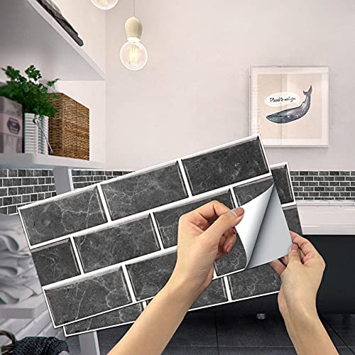 YAOUFBZ Pegatinas de pared impermeables para azulejos de cocina, diseño de ladrillo en estilo mediterráneo, para salón, cocina, baño (gris oscuro)