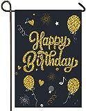 Atenia Happy Birthday Cake Burlap Garden Flag, Double Sided Birthday Cake Garden Outdoor Yard Flags (Garden Size - 12.5X18)