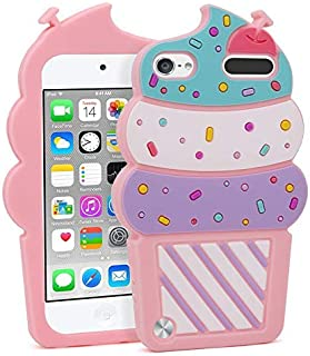 for iPod Touch 5 Case, iPod Touch 6 Case, Fashion Cute 3D Cartoon Ice Cream Shaped Soft Silicone Gel Rubber Bumper Case Cover for iPod Touch 5th/6th Generation (Ice Cream Pink)