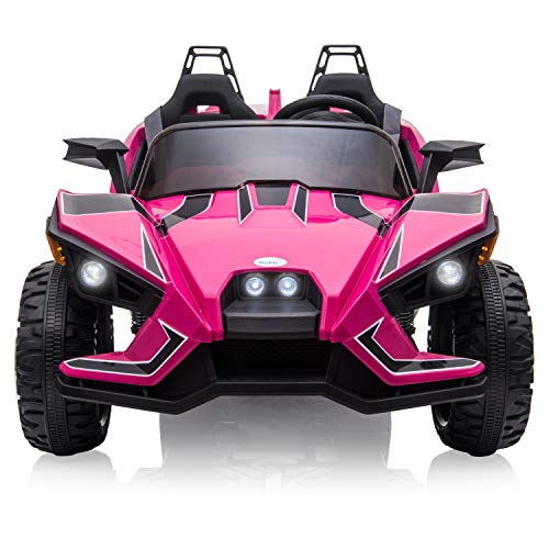 BABLE 2 (Two) Seater Kids Car Ride On Car Truck with 2.4G R/C Parental Remote Control, 12V Kids Electric Car Motorized Vehicles with USB/MP3 Music Player Bluetooth FM Radio and LED Lights - Pink