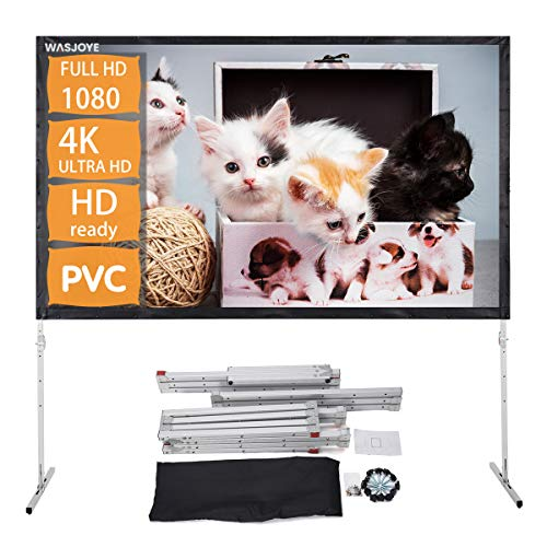 PVC Projector Screen with Stand, WASJOYE 120 inch 16:9 HD 4K Outdoor Indoor Portable Front Projection Video Screen for Home Theater Backyard Movie with Inflatable Sofa