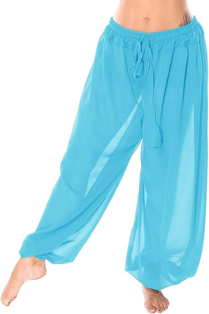 Details about  /HOT PINK Chiffon Harem Belly Dancing Costume BOHO Aladdin Trouser Pant